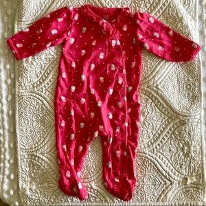 Carter's Hot Pink 100% Cotton Footed PJ's 6M